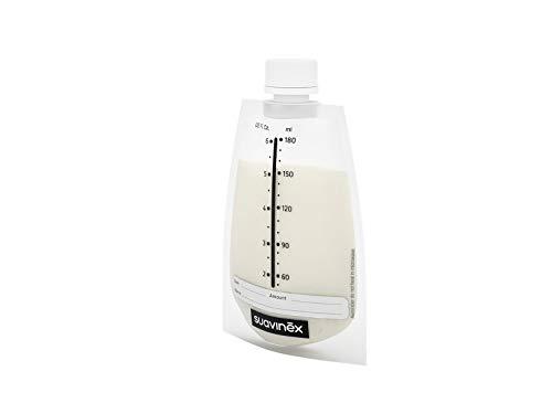 Suavinex - Pack 20 Bolsas Almacenamiento leche materna. Pre-Esterilizadas. Almacenar en frigorífico, Congelador o Alimentar al bebé. con Área de Etiquetado. sin BPA. tapón Hermético de Rosca, 180ml
