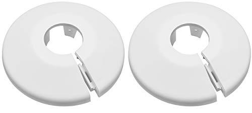 2er SET Kunststoff Heizkörperrosetten für 15mm Rohre Farbe weiß Rohrabdeckung Rohrschelle Rohrmanschette schnelle und einfache Montage mit Clipverschluss