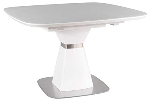 Casa Padrino Mesa de Comedor Blanco Mate/Plata 120-160 x 120 x A. 76 cm - Mesa de Comedor Moderna Extensible con Vidrio Templado - Muebles de Comedor