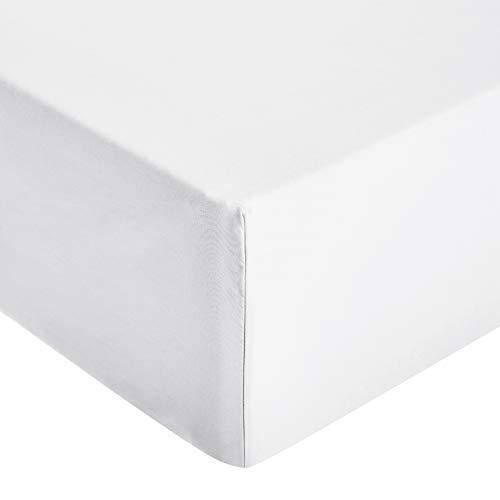 AmazonBasics - Sábana ajustable de microfibra premium (135 x 190 cm), blanco brillante