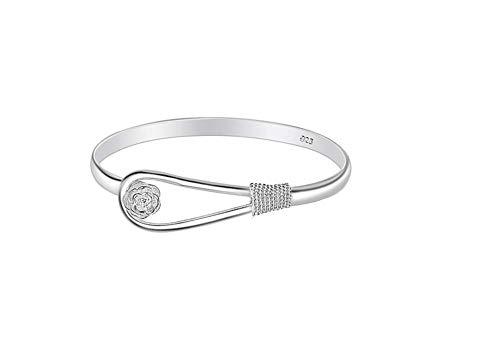 Sannysis Plateado mujeres de la joyería 925 pulseras de cadena de plata esterlina de plata sólida de pulsera de moda Cuff (Color 1)