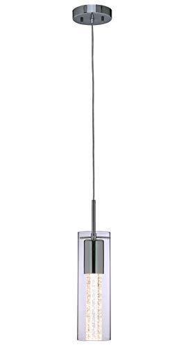 XiNBEi Pendelleuchte 1 Licht Mini Pendelleuchten Mit Glas und Bubble Crystal, Moderne Hängende Pendelleuchte Mit LED-Lampe in Chrom für Küche, Bar & Esszimmer XB-P110-CH