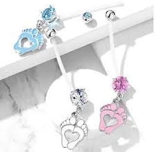 Set di anelli per ombelico in bioflex con zirconi cubici rotondi e cuori con piedini per bambini in gravidanza, con sfere ...