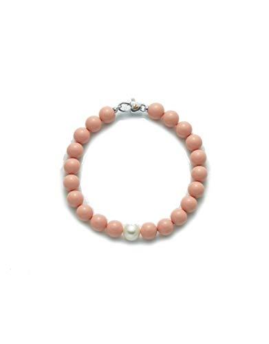 Miluna - Bracciale Miluna con corallo rosa e perla, chiusura in argento 925%