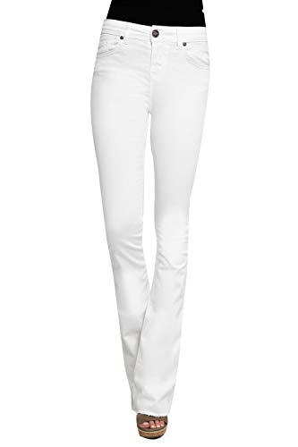 Zhrill Damen Schlaghose Boot-Cut Jeans Vintage 5 Pocket Skinny Fit Leona Flare, Größe:W25 / L32, Farbe:W1073 - Flare White