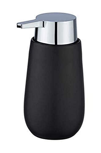 WENKO Dispenser sapone Badi nero - Dispenser sapone liquido Capacità: 0.32 l, Ceramica, 9.5 x 16 x 8 cm, Nero
