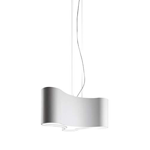 Lámpara colgante, modelo Ameba, emplea bombillas E27, pantallas de poliuretano, difusor de metacrilato, color cromo, 35 x 51 x 28 centímetros (referencia: 222501)