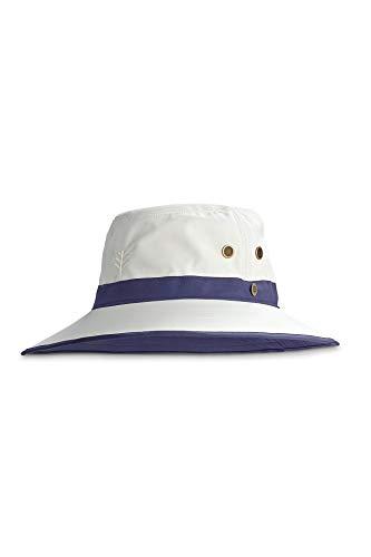 Coolibar UPF 50+ Men's Women's Matchplay Golf Hat - Sun Protective (Large/X-Large- Stone/Navy)