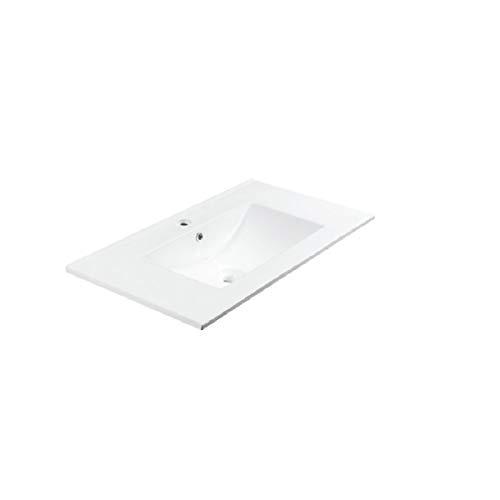 Aquareforma | Lavabo Cerámico Fondo 46 cm | Lavabo Cerámico Acabado en Blanco Brillo | Seno Centrado | Grosor 2 Cm | Varias Medidas