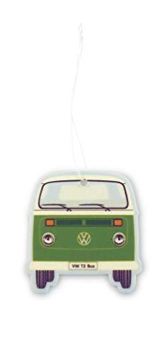 BRISA VW Collection - Volkswagen Luft-Erfrischer, Duft-Spender, Duft-Baum fürs Auto/KFZ mit VW T2 Bulli Bus Frontmotiv (Grün/Green Tea)