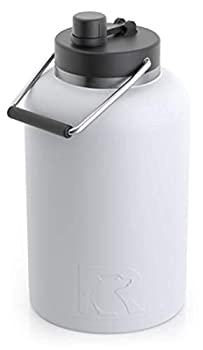 RTIC Jug with Handle One Gallon White Matte Large Double Vacuum Insulated Water Bottle Stainless Steel Thermos for Hot & Cold Drinks Sweat Proof Great for Travel Hiking & Camping