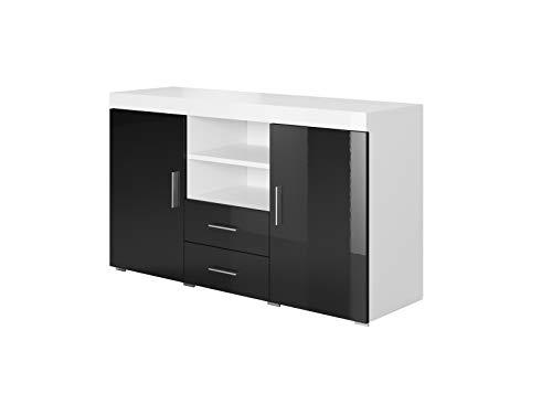 Muebles Bonitos | Aparador Moderno Roque | Ancho 140cm x Alto 80 cm x Profundo 40 cm | Mueble de Melamina Brillo | Color Blanco y Negro