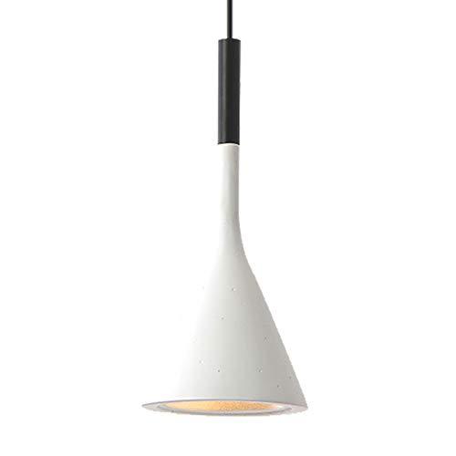 Colgante blanco dormitorio de noche lámpara de techo luz de la sala de estar Comedor embudo de lámpara colgante de hierro resina de la forma corredor de mesa con soporte de la lámpara E27