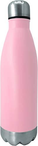 NERTHUS Pared Simple Rosa de Acero Inoxidable 750 ml, Agua, Botella Reutilizable, 29 x 7.5 x 7.5 cm