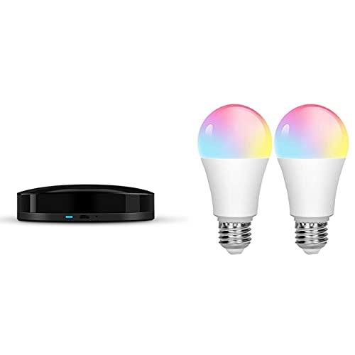 Davitu Remote Controls - 1x Voice Control for Alexa Google Home Tuya Universal Smart Remote Wifi+Ir App Switch & 2Pcs Tuya Smart Wifi Bulb E27 - (Color: black white)