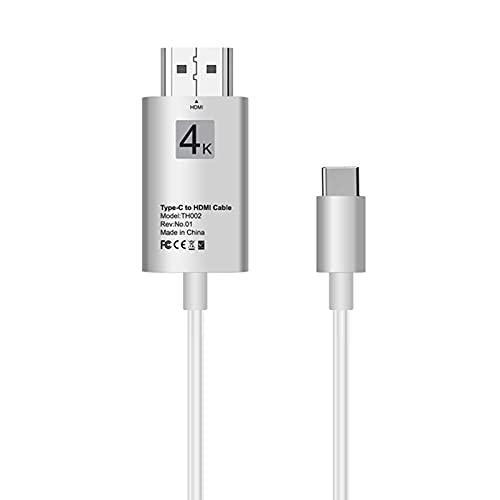Cable Compatible con HDMI Tipo C para Oficina en Casa Cable de Datos de Proyección de TV Móvil 4K HD para Tableta Cables Adaptadores 4K para Mac-Book Etc.