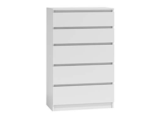 Kommode mit 5 Schubladen Malwa M5, Diele, Flur, Anrichte, Highboard, Sideboard, Mehrzweckschrank, Wohnzimmer, Esszimmer (Weiß)