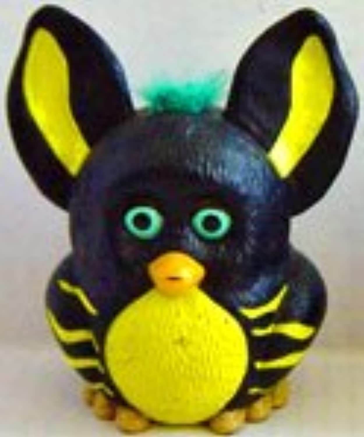 Burger King 2005 Furby Black with Yellow Belly Yellow Stripes and Green Hair