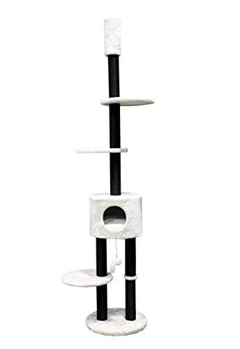 Petrebels Elegante Plafond Krabpaal met Meerdere Etages Kattenkabpaal Anna 240 Creme Beige Hoogteverstelbaar 240-260 cm