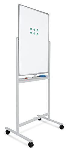 Pronomic WB-6090 Whiteboard - Magnetisch, drehbar, beidseitig beschreibbar - Fläche: 60x90cm - Trocken-abwischbar - Alurahmen - Rollen & Tafel verriegelbar - Inkl. Markern, Magneten, Schwamm - Weiß