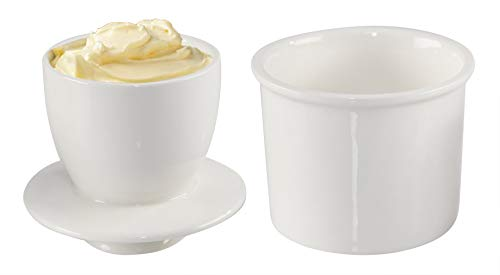 HOMEX Butter Crock Stoneware Butter Container BellShaped Butter Keeper for Easily Spreadable Butter 3 ¾quot D x 3 ¾quot H White