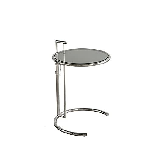 yxx Mesa de Extremo de Acero Inoxidable de Acero Inoxidable con diseño de Vidrio de Moderno Espacio Sala de Estar Sala de recepción, Mesa de té Ajuste de Acento Ajustable (Color : C)