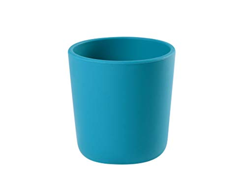 BEABA 100% Silicone Training Cup for Babies and Toddlers, Anti-Slip BPA Free, Peacock