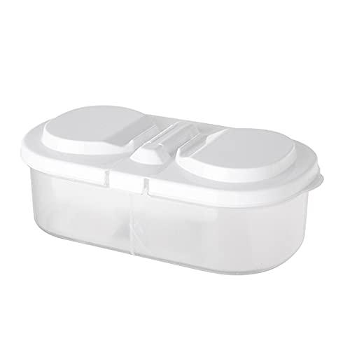 Xingying Cocina Diverses de cristal alimentario con tapa, caja de almacenamiento multifunción con dos compartimentos para frigorífico de cocina