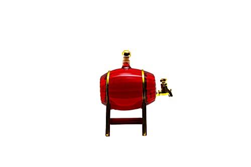 slkfactory - Botte per Vino, Whisky e Birra, con Rubinetto, caraffa in Vetro soffiato a Mano, da 500 ml, per liquore e Grappa, Altezza: 16,5 cm