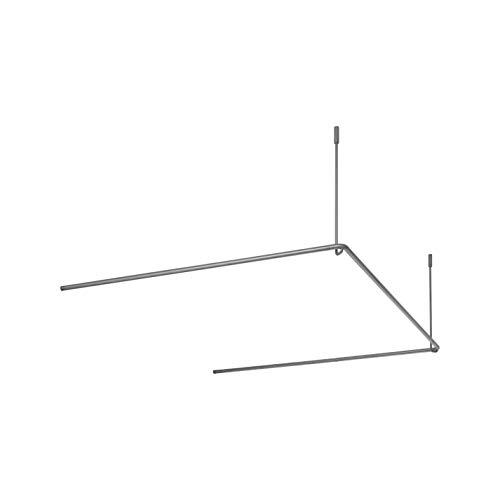 PHOS Edelstahl Design, DSU900-900, Duschvorhangstange U-Form, 90 x 90 x 90 cm aus Edelstahl für Dusche und Badewanne, Duschstange, Duschvorhanghalterung, Deckenhalterung, Winkelstange
