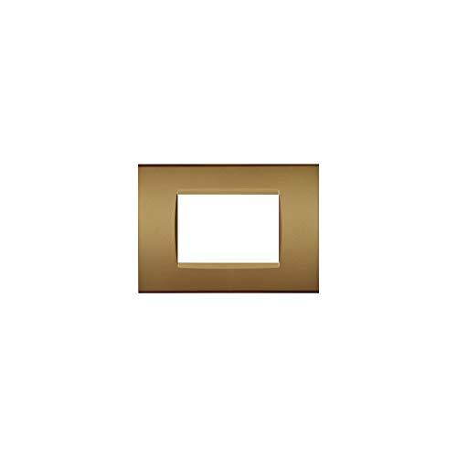 LineteckLED -LNT8003 12- Serie Completa di Placche per Interruttori Prese- Placca 3 Posti Oro Satinato 3M Compatibile living (Oro Satinato)