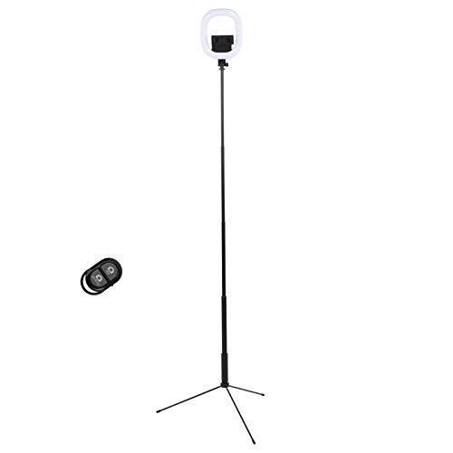 FOTABPYTI Telefon Bodenständer Bluetooth Fernbedienung Selfie Stick, Ringlicht Stativ 5 Abschnitte für 2,6-3,5 Zoll Breite Telefon