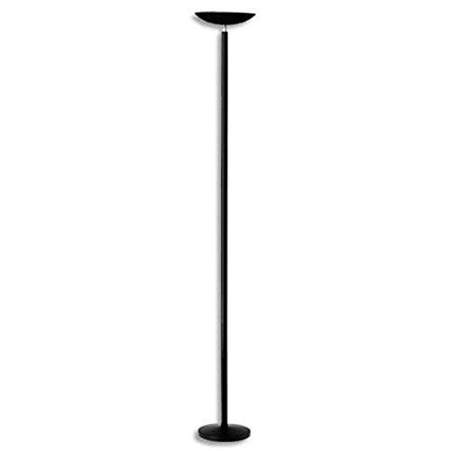Lampadaire à Led Dely noir en acier - Hauteur 180 cm, Tête D28 cm Socle D25 cm
