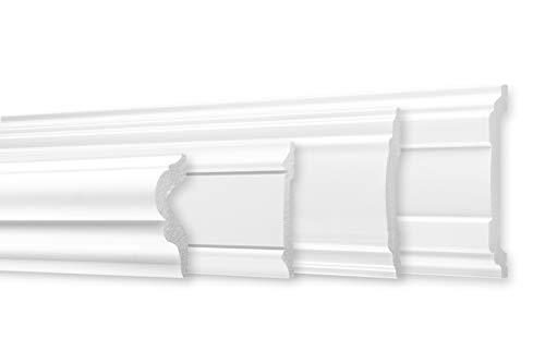 Flachleiste - große Auswahl, 2 Meter 85x12mm moderne Flachprofile aus hartem Styropor HXPS, stoßfest - Stuckleiste im edlen weiß (CM28)