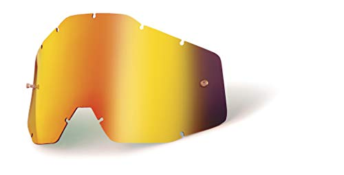 100% Goggle Replacement Lens (Anti-Fog-RED Mirror/Smoke) Racecraft 1, Accuri 1, Strata 1 Compatible
