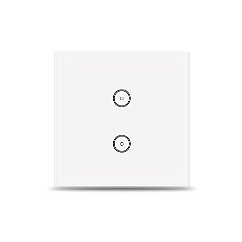 Jinvoo Wifi Smart Lichtschalter 2 Gang kompatibel mit Alexa und Google Home, EU Smart Touch Switch, Smart Phone Fernbedienung gehärtetes Glas, Timing-Funktion,keine Hub erforderlich, MEHRWEG (2 Gang)