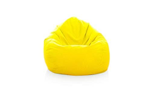 Puf para exterior e interior, resistente a la intemperie, XL – XXL, cojín de suelo, cojín para el suelo, para adultos, niños, juegos, alta calidad, relax XXXL (amarillo, XL)