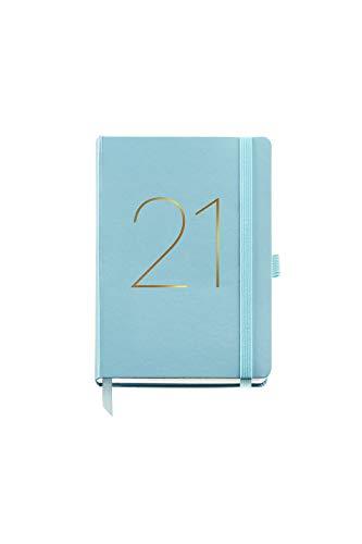 MIQUELRIUS - Agenda 2021 Chester - Español, Semana Vista, Tamaño 122 x 168 mm, Papel 70g, Cubierta Símil Piel, Color Aguamarina
