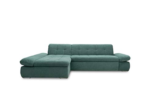Domo Collection Ecksofa Moric / Eckcouch mit Bett / Sofa mit Schlaffunktion in L-Form Couch mit Armlehnfunktion/ 300x172x80 cm / Schlafsofa in petrol grün
