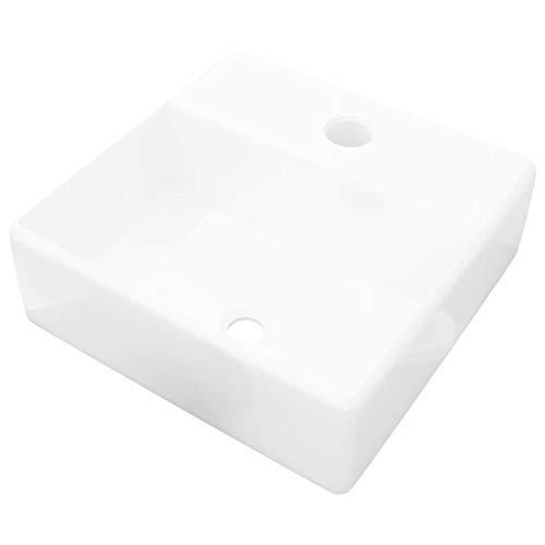 vidaXL Lavabo Cuadrado Moderno con Agujero de Grifo y Desagüe Cerámica Blanco