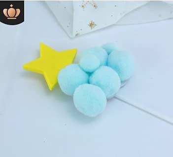 Shiwen 1 STKS Verjaardag Cake Versieren Haar Bal Maan Ster Plugin Feestelijke Dessert Biljart Kaart (Kleur: Roze Bal maan)