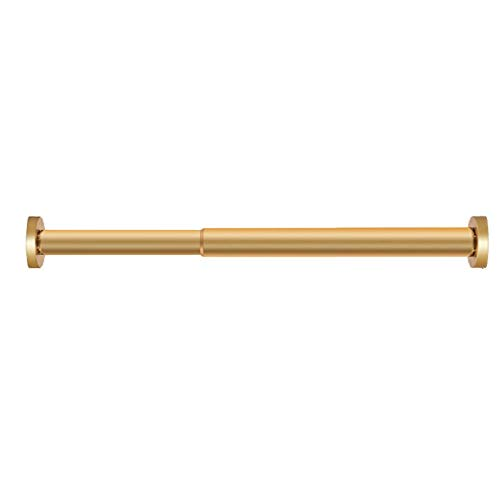 LWL Multifunction Shower Curtain Rod Gold Shower Curtain Rod Tension Rust-Resistance and Non-Slip for Bathroom Base Golden Adjustable Premium 304 Stainless Steel, Anti-Slip, No Drilling, Rust