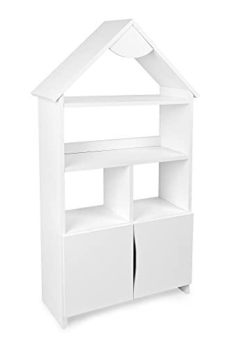 Leomark Witte boekenkast van hout voor kinderen, voor een kinderkamer, voor een kleuterschool, voor speelgoed, boeken, met een kast, met een dak, kindermeubilair (Rich House)