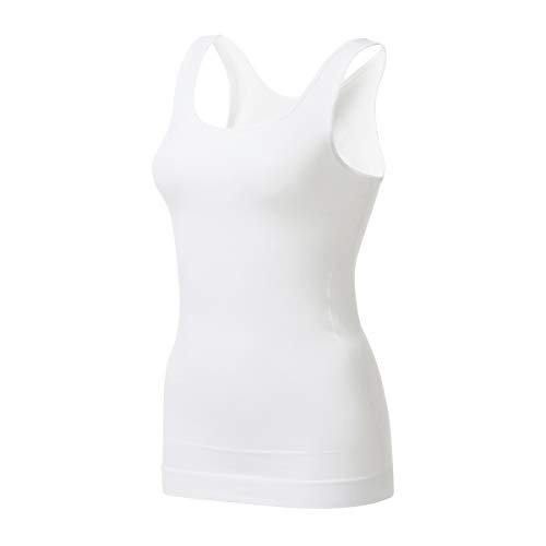 EUYZOU Women's Tummy Control Shapewear Tank Tops - Seamless Body Shaper Compression Top - White L