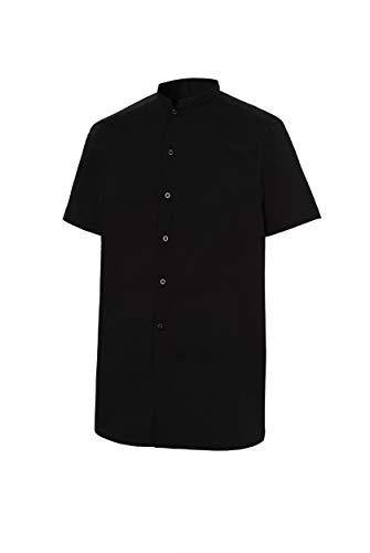 Camisa de Camarero Manga Corta Cuello Mao Hombre. Color Negr