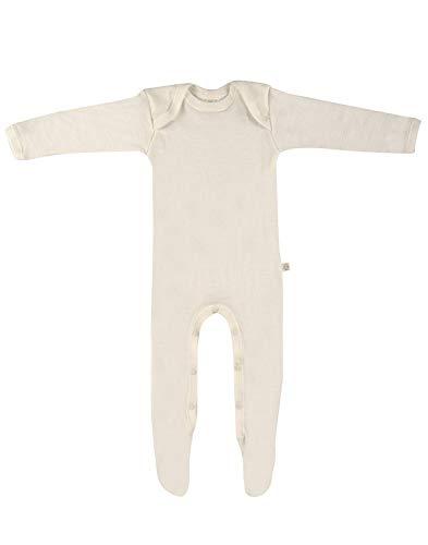 Dilling Strampler für Babys mit Füssen aus 100% Bio-Merinowolle Natur 92