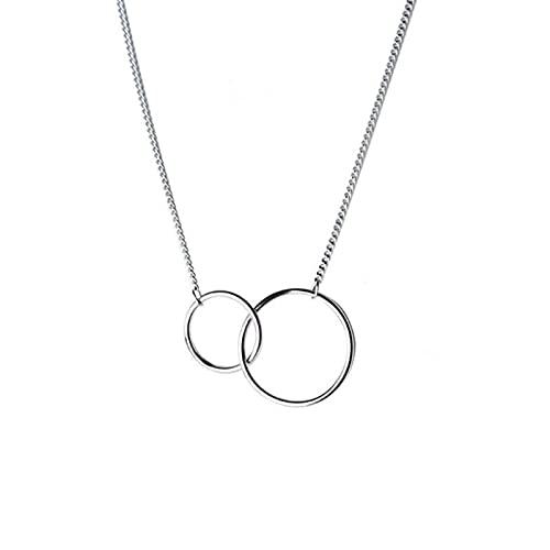HCMA Collar de clavícula de círculo Redondo Doble de Plata de Ley 925, Cadena de Oro Rosa, joyería para Siempre, Collar de Regalo para Mujer