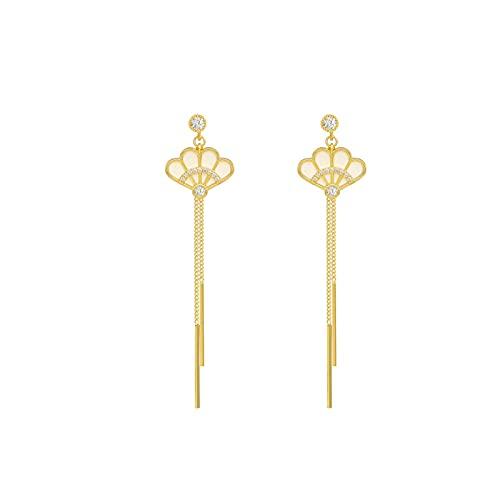 S925 aguja de plata borla en forma de abanico pendientes personalizados temperamento cara larga pendientes finos micro incrustaciones de circonita abanico borla pendientes de moda