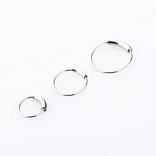 1 piercing de acero de 22 g, 6/8/10 mm, con bisagras, anillo de nariz, aro para labio, joyería del cuerpo, clip de regalo (color de la piedra principal: 6 mm, color del metal: plata)