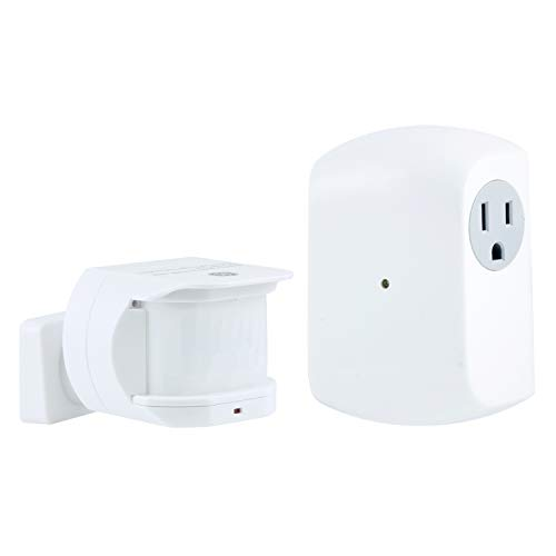 GE, White, Wireless Motion-Sensing Control Transmitter with 1 Grounded Outlet Receiver, 30ft. Detection Range, Off after 10 Mins, for Lamps and Other Indoor Lighting, 12751, Sensor Switch